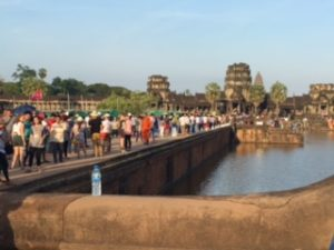 the scene at the bridge into Angkor Was